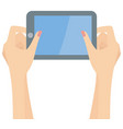 woman hands holding a tablet and playing vector image