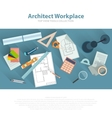 Architects workplace with architectural tools