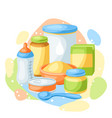 background with baby food items