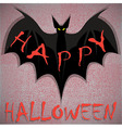 Bat on grunge Happy Halloween vector image vector image