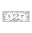 bill one dollar banknot black thin line vector image