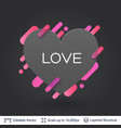 black badge heart shaped sticker vector image