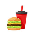 burger with drink hamburger cola in red paper