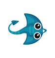 cartoon icon of blue manta ray with long tail vector image