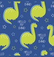 cartoon seamless pattern with dinosaurs vector image