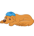 Cartoon sick dog with ice bag isolated on white b vector image