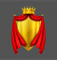 coat arms with golden monarch crown and shield vector image