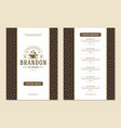coffee menu template design flyer for cafe with vector image vector image