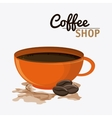 Coffee mug cup bean shop beverage icon vector image vector image