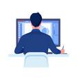 computer graphics designer work on desk in office vector image