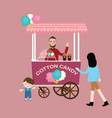 cotton candy stall cart kids children buy vector image vector image
