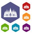 crown icons set hexagon vector image vector image