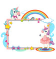 cute unicorn with blank banner vector image vector image