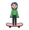 cute woman with skateboard character vector image