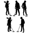 Detectorists silhouette on white background vector image vector image