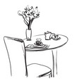 dining table with coffee hand drawn sketch vector image