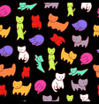 doodle kittens seamless pattern with black vector image vector image