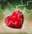 electric heart background vector image vector image