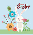 flowers happy easter and rabbit season vector image