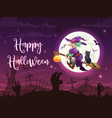flying halloween witch and black cat on cemetery vector image