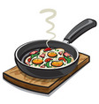 fried eggs with parsley vector image vector image