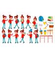 girl schoolgirl kid poses set high school vector image