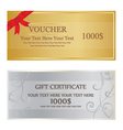 Gold With Red Ribbon and Silver With Swirl Voucher vector image vector image