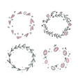 hand drawn flower wreath set in scandinavian style vector image