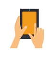 hands touch screen a cellphone vector image