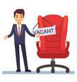 hiring concept flat character businessman vector image vector image