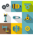 machinery gear icon set flat style vector image vector image