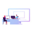 male and female business people characters sitting vector image vector image