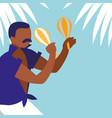 man playing maracas avatar character vector image