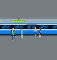 metro train banner horizontal flat style vector image