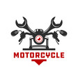 motorcycle repair logo design vector image vector image