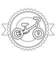 mountain bicycle with emblem ribbon vector image vector image