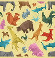 origami wild paper animals creative decoration vector image