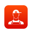 plumber icon digital red vector image