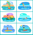 rafting and summer sport set vector image vector image
