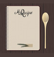 recipe notebook with hand drawn text olive and vector image