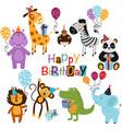 set isolated happy birthday animals vector image vector image