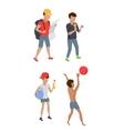 Set Summer Boy Characters vector image vector image