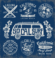set vintage surfing graphics and emblems vector image vector image