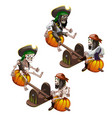 skeletons of dead pirates swinging on a swing vector image