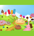 sweet candyland with cupcake ice cream donut an vector image