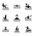 Swimming on water icons set simple style vector image vector image