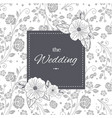 the wedding black frame retro flowers background v vector image