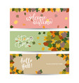 three abstract autumn banners with color leaves vector image vector image