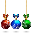 Three multicolored christmas balls with bows vector image