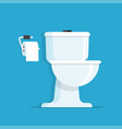 toilet bowl with toilet paper roll vector image